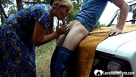 Kinky stepmom gets fucked hard on a car