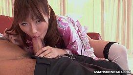 Japanese fetish lady, Mana Aoki satisfying a horny man, uncensored