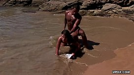Fucking on the beach with a black dude'_s rock hard cock
