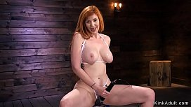Huge tits redhead cums on fucking machine