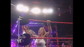 Mickie James faces Maria while dressed as Trish Stratus. Raw 2006.