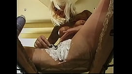 Two guys fuck this pussy shaving anal blonde slut Jessie in all 3 holes with big dicks