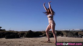 Girls Out West - Amateur cutie rubs her hairy twat outdoors