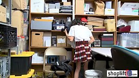 Petite asian teen tried to hide stolen things in office