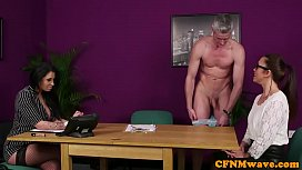 Busty british office dom tugs sub in lingerie