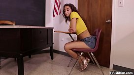 Can I Jerk It Mr. Franklin? Young Teen Marilyn Mansion Jacks Off her teacher in Class