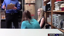 Blonde teen thief got fucked in front of a nerdy BF