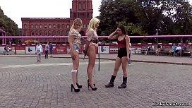 Blonde Euro slaves anal fucking in public