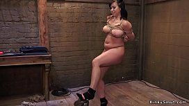 Slave trainers whipping busty slut