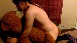 Sissy boy at it again creampie in his teddy bear