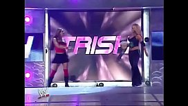Mickie James and Trish Stratus vs Candice Michelle and Victoria. Tag Team match. Raw 2005.