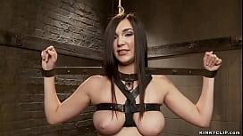 Busty bound slave gets big dick