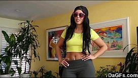This latina babe sure can suck a cock