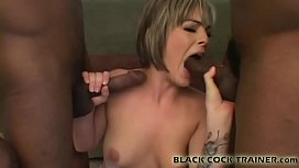 Watch me get fucked by two horny black guys