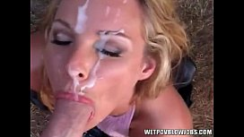 Alexandra Quinn gives hot sloppy head with cum on face