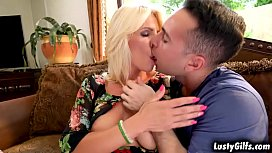 Sexy mature blonde Tiffany Rousso wants to help her teen neighbor Raul Costa and gave him a hot sex lessons that makes him a real man.