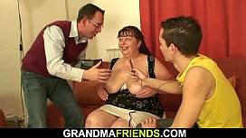 Busty old chubby mom threesome banging