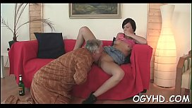 Old man inserts cock in young aperture