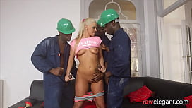 Spitroasted milf drilled by black dongs