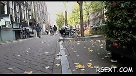 Glamorous amsterdam hooker rides a large hard rod passionately
