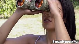 Exotic Maya Bijou overjoyed with outdoor BBC insertion