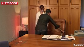 LETSDOEIT - French Secretary Slut Double Penetrated By Two Co-workers