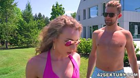 Step sister plowed by step brother and friend in a lovely DP act - Angel Emily