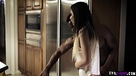 Hot teen girlfriend Jaye Summers visited her ebony boyfriend and got fucked and creampied by her boyfriends horny dad at the kitchen.