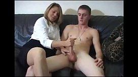 Blonde mom masturbate the son