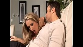 Gorgeous blonde gives head and gets drilled in living room