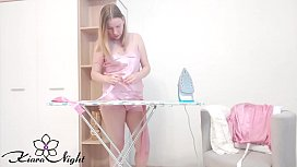 Housewife Fingering Pussy and Getting Sensual Orgasm after Ironing