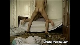 Pretty Blonde Hairy Russian Mom Naked In Stepson Bed