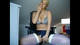 Blonde milf with big tits shows her pussy and masturbates on cam