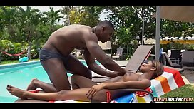 Oral by the Pool with Black babe