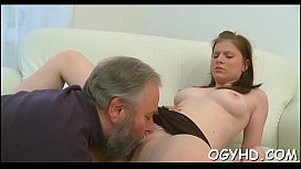 Youthful playgirl teased by old crock