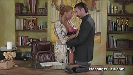 Oily threesome with juicy big tit masseuses