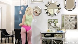 Petite Blonde Babe Takes a Huge Dick Up Her Gaping Ass