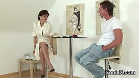 Unfaithful english mature lady sonia showcases her monster puppies