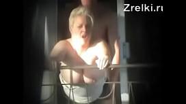 Mature busty mommy milf sex on balcony. Hidden cam