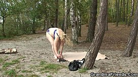 Very old granny and boys teen fuck outdoors