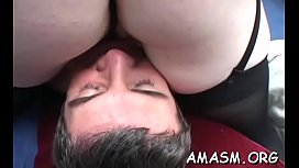 Superb home porn with busty woman facsitting during the time that stroking one-eyed monster