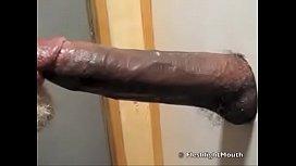 Cute white boy deepthroats big black cock