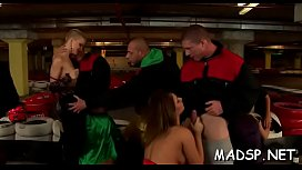 Kinky scenes with pretty babes fucking in a group