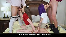 DaughterSwap -  Fathers Teaching Daughters (Val Steele) (Jessae Rosae) to Ride a Bike Turns into a Sex Orgy