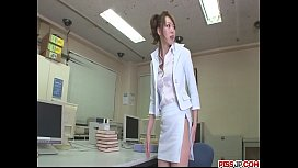 Stunning, sexy and long legged secretary teased, fondled and fucked from behind