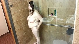 Bbw huge tit wife fucked in the shower 1