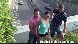 Public threesome enjoy (somebody have more videos of her?)