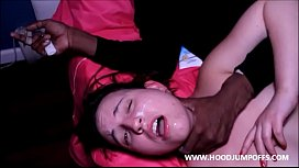 SUBMISSIVE WHITE WHORE GETS DOMINATED & SPIT ON IN BBC GANGBANG