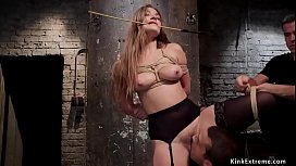 Slave in stockings bdsm threesome