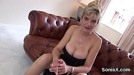 Unfaithful british mature lady sonia flashes her monster titties